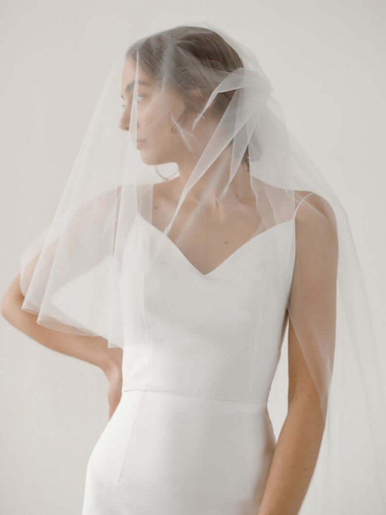 Bride wearing blusher veil