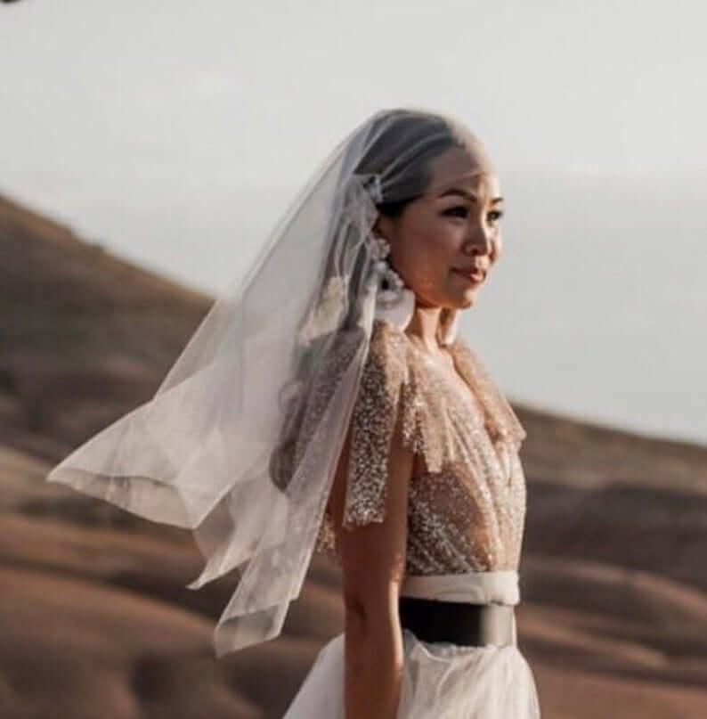 boho style bridal cap