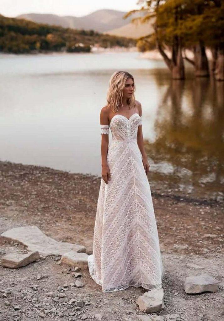 Bride wearing boho wedding dress