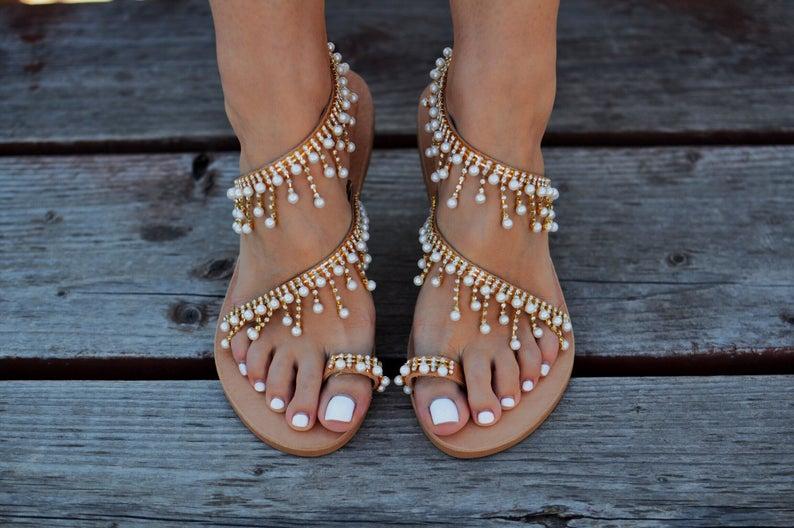 Bride wearing boho wedding sandals