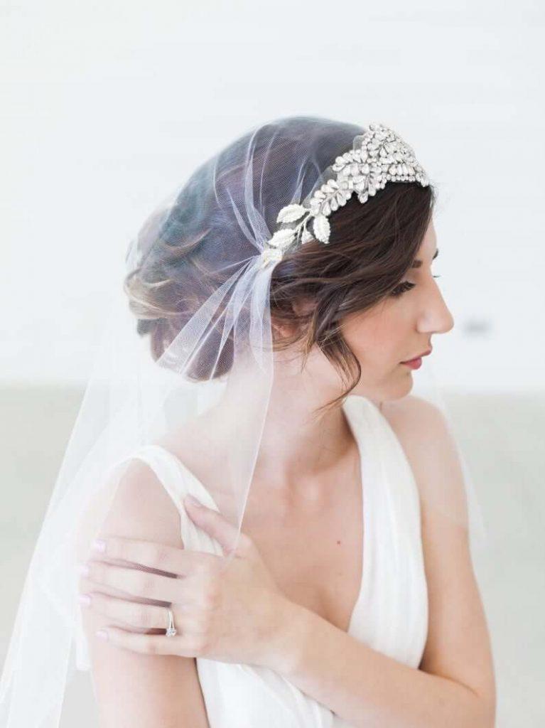 Bride with cap veil