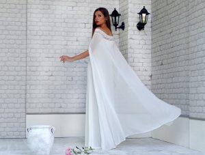 White bridal cape
