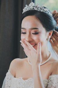 Bride wearing bridal tiara