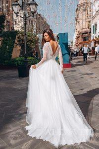 Bride long sleeved wedding dress