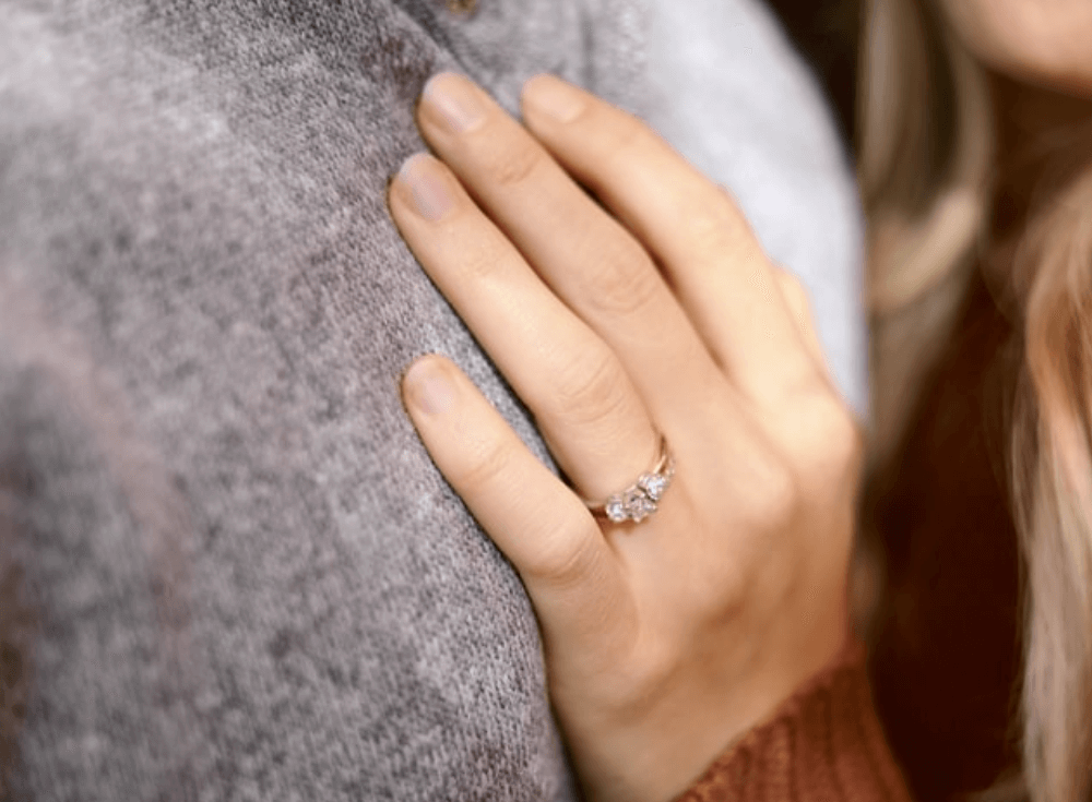 Bride with three stone ring