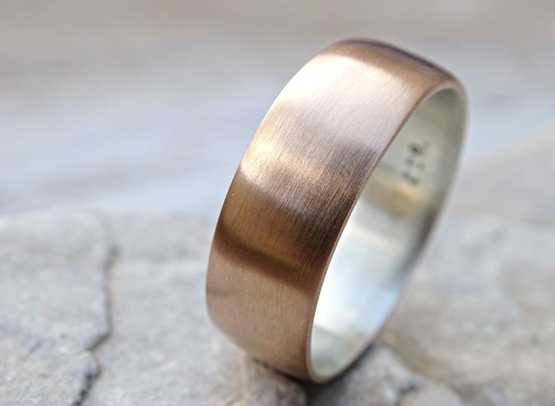 Bronze brushed wedding band