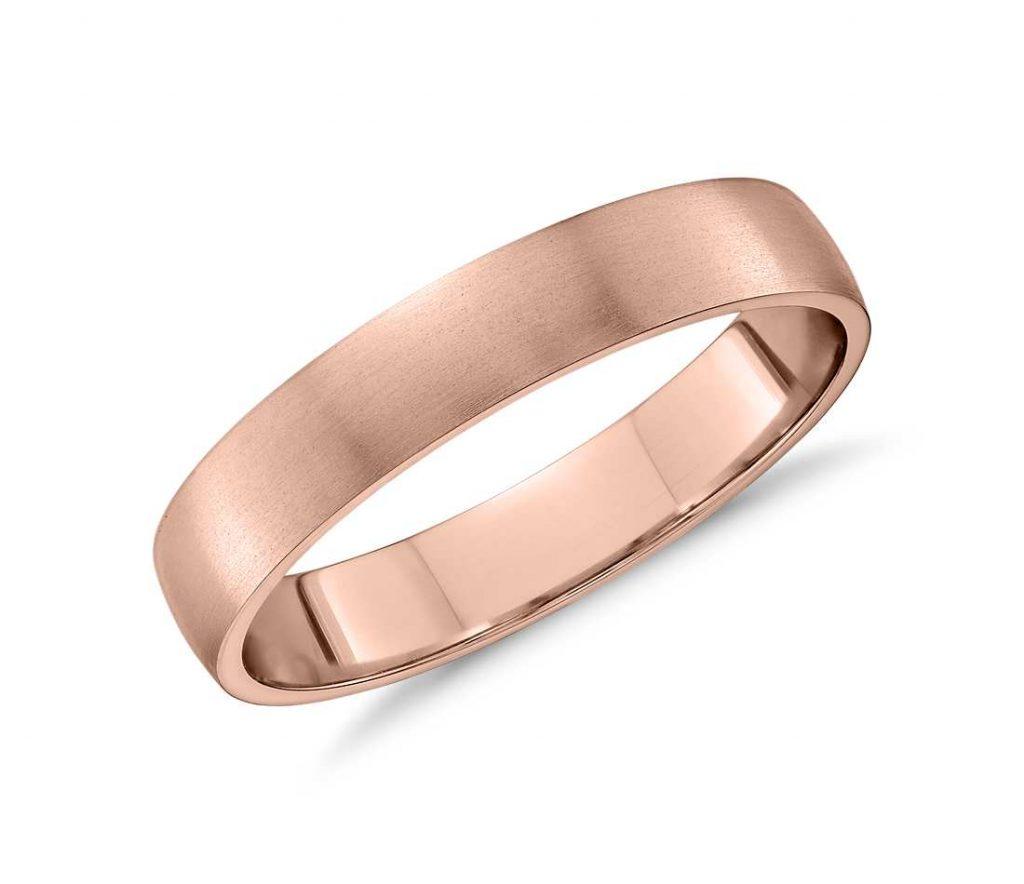 Brushed rose gold wedding ring