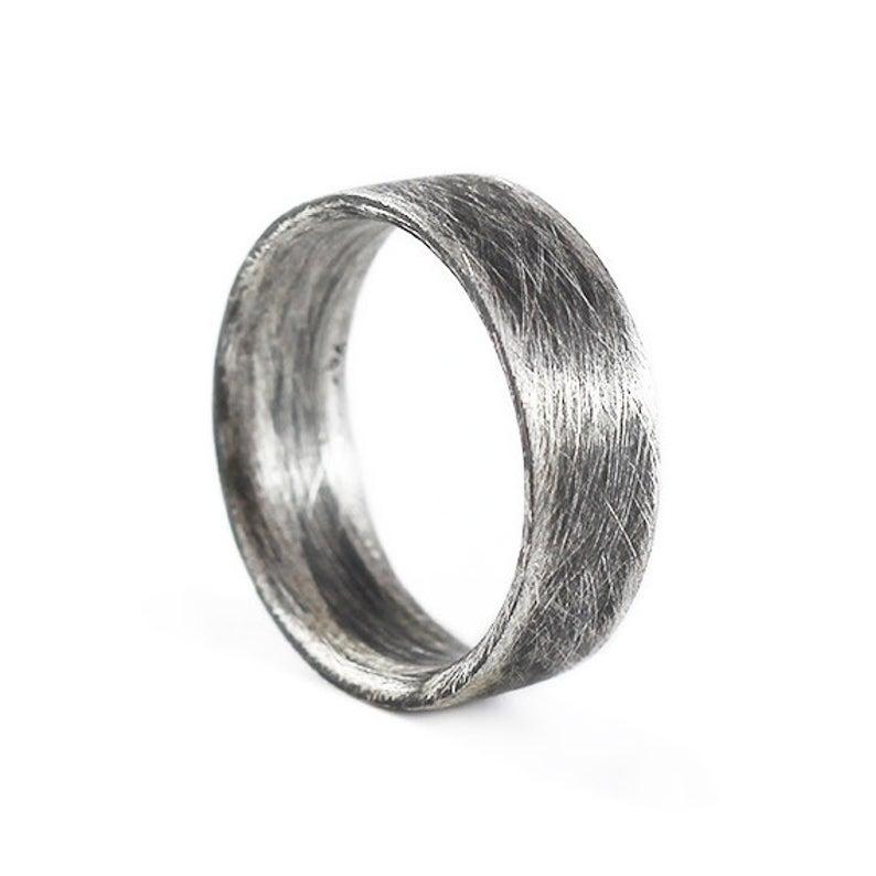 Men brushed silver wedding ring