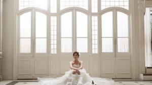 Girl wearing white wedding dress