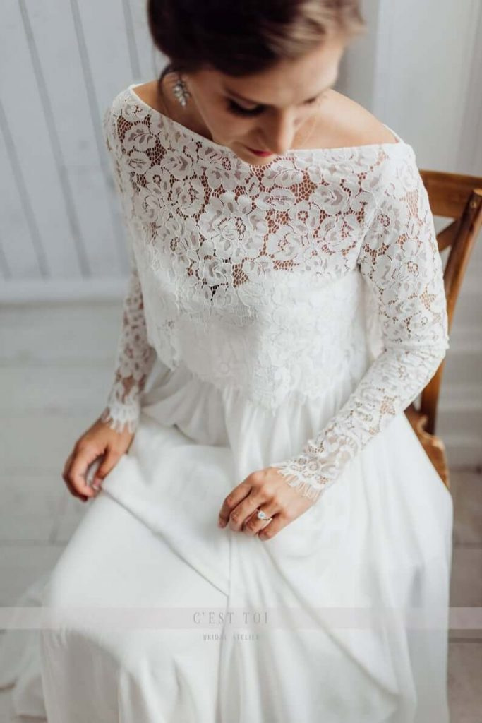 Chantilly lace bridal topper