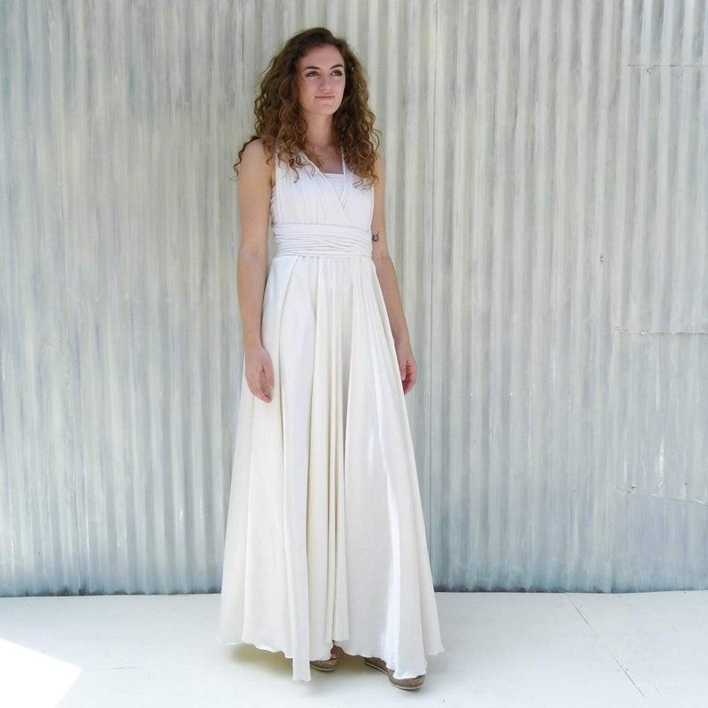 Bride wearing charmeuse wedding dress