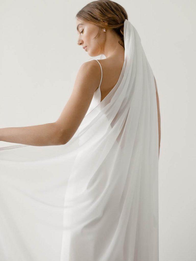 Bride wearing chiffon veil