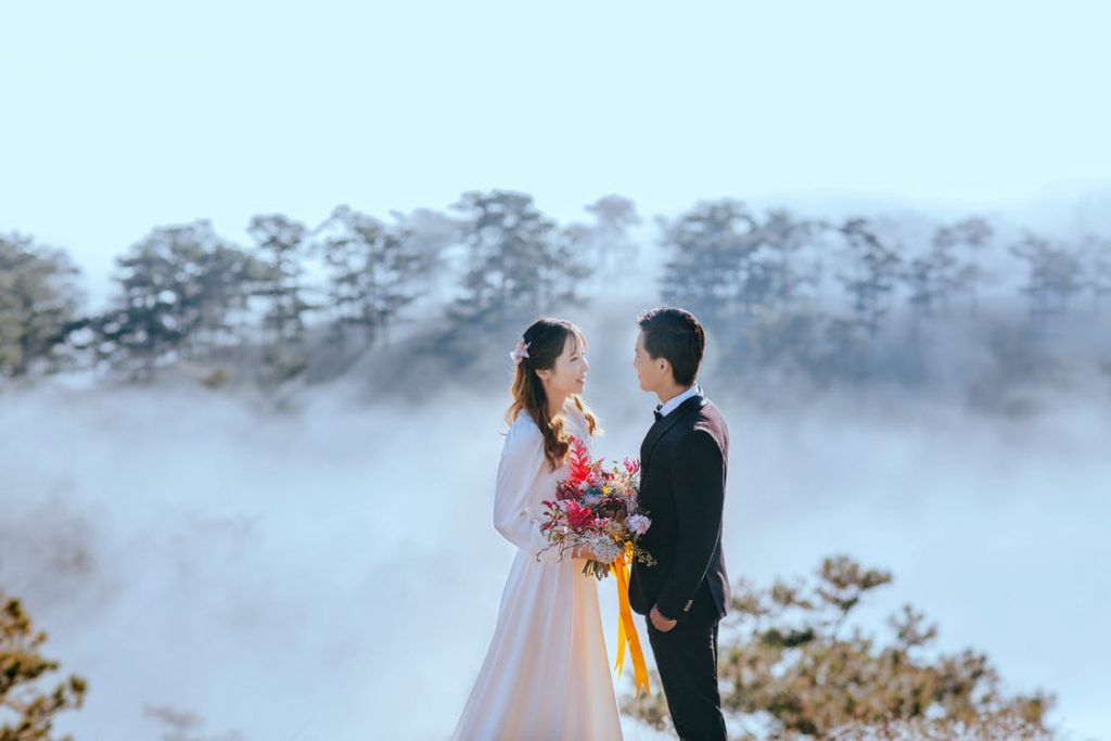Couple in foggy location