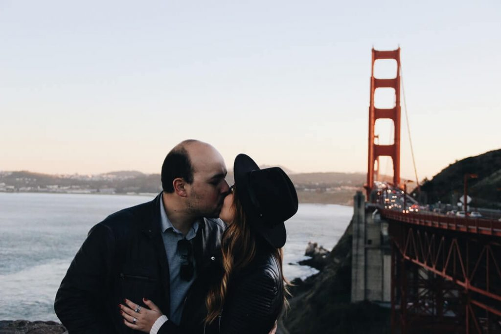 couple kissing in the destination wedding