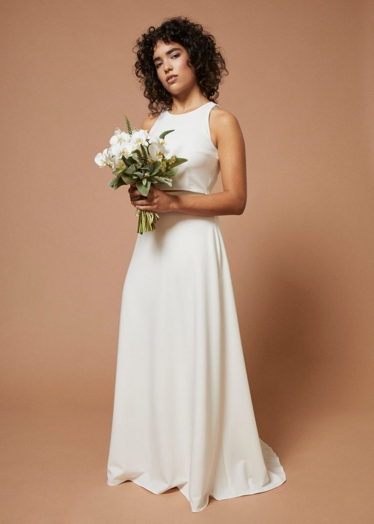 Bride wearing crepe wedding dress