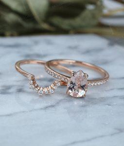 Curved wishbone style wedding ring rose gold