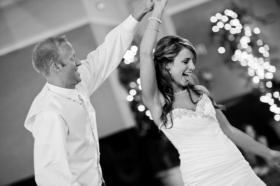 bride and groom dancing at wedding