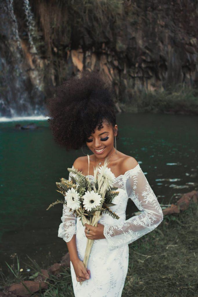 Dark skin bride in white dress