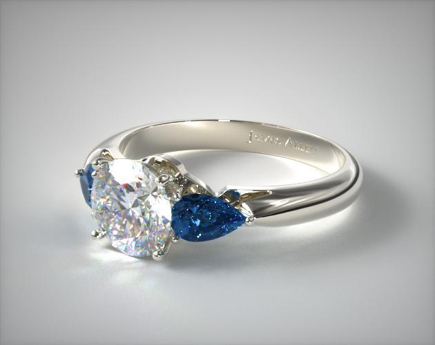 Diamond and blue sapphire 3 stone ring in white gold