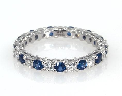 Diamond sapphire eternity band