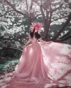 Bride wearing dusty rose wedding dress