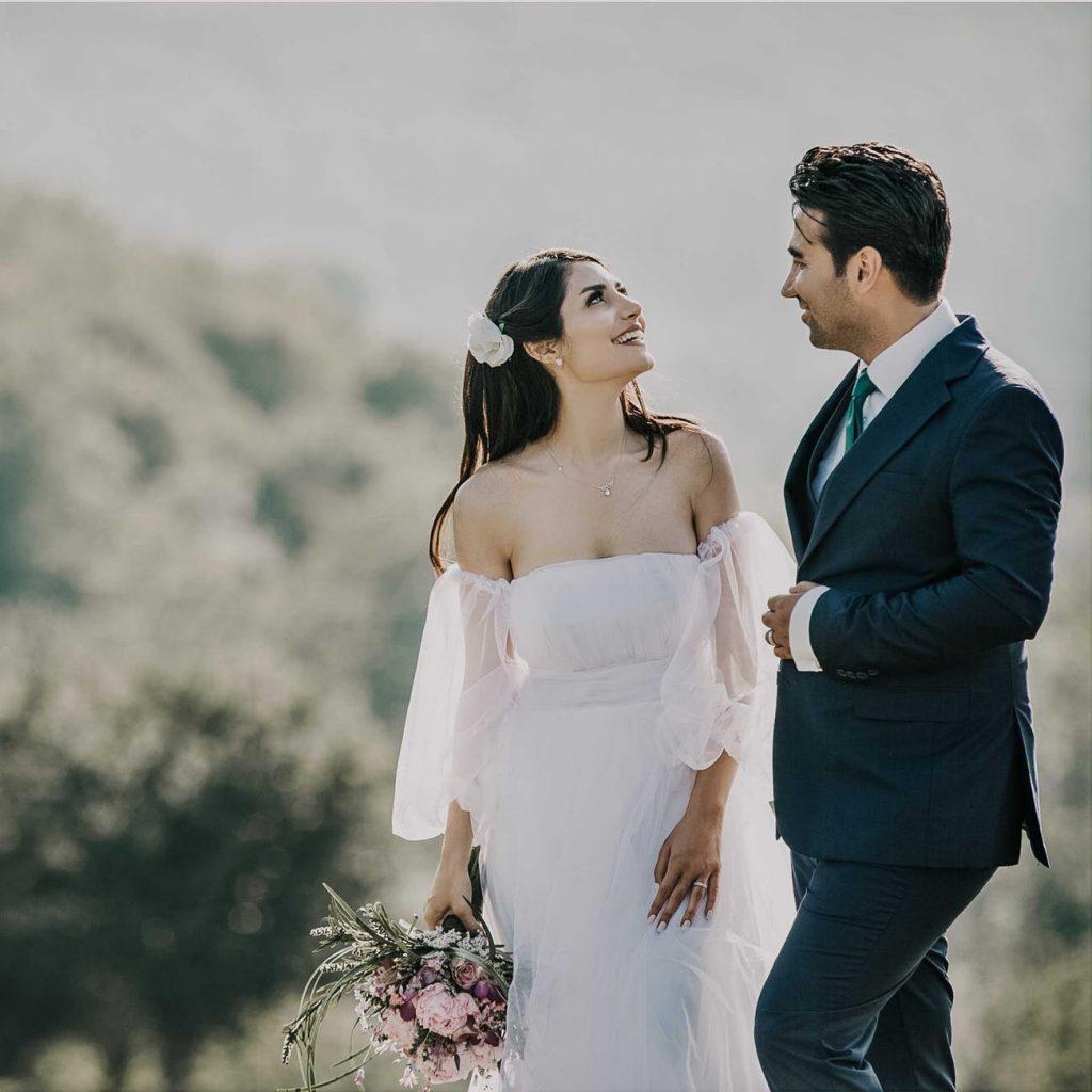 Empire wedding dress bride wearing