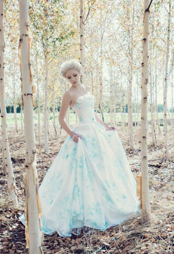 Bride wearing floral watercolor wedding gown