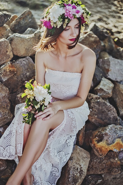 Bride with fresh flower crowns