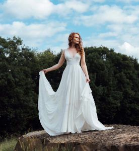 Bride wearing georgette wedding dress