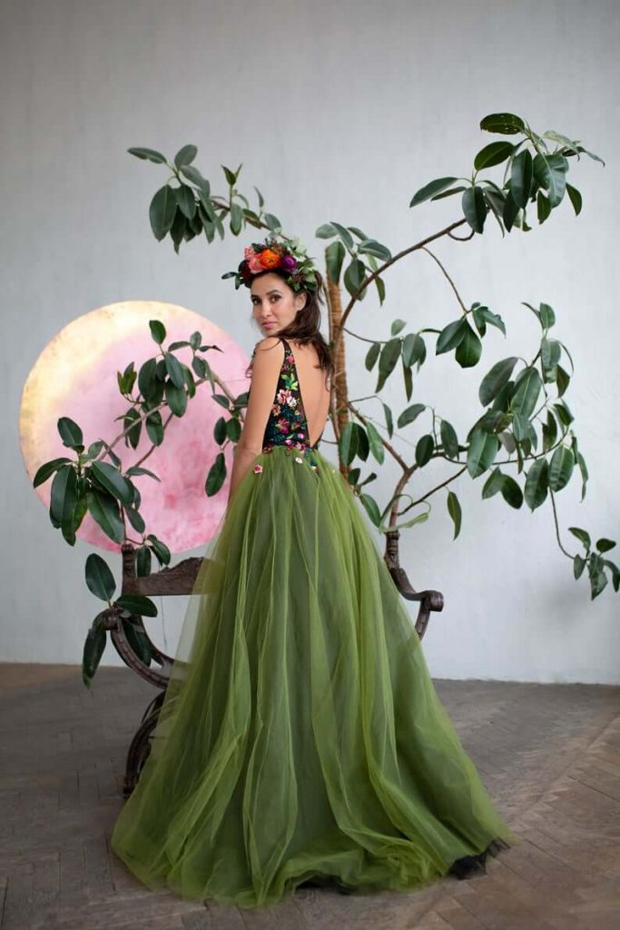 Green floral wedding gown