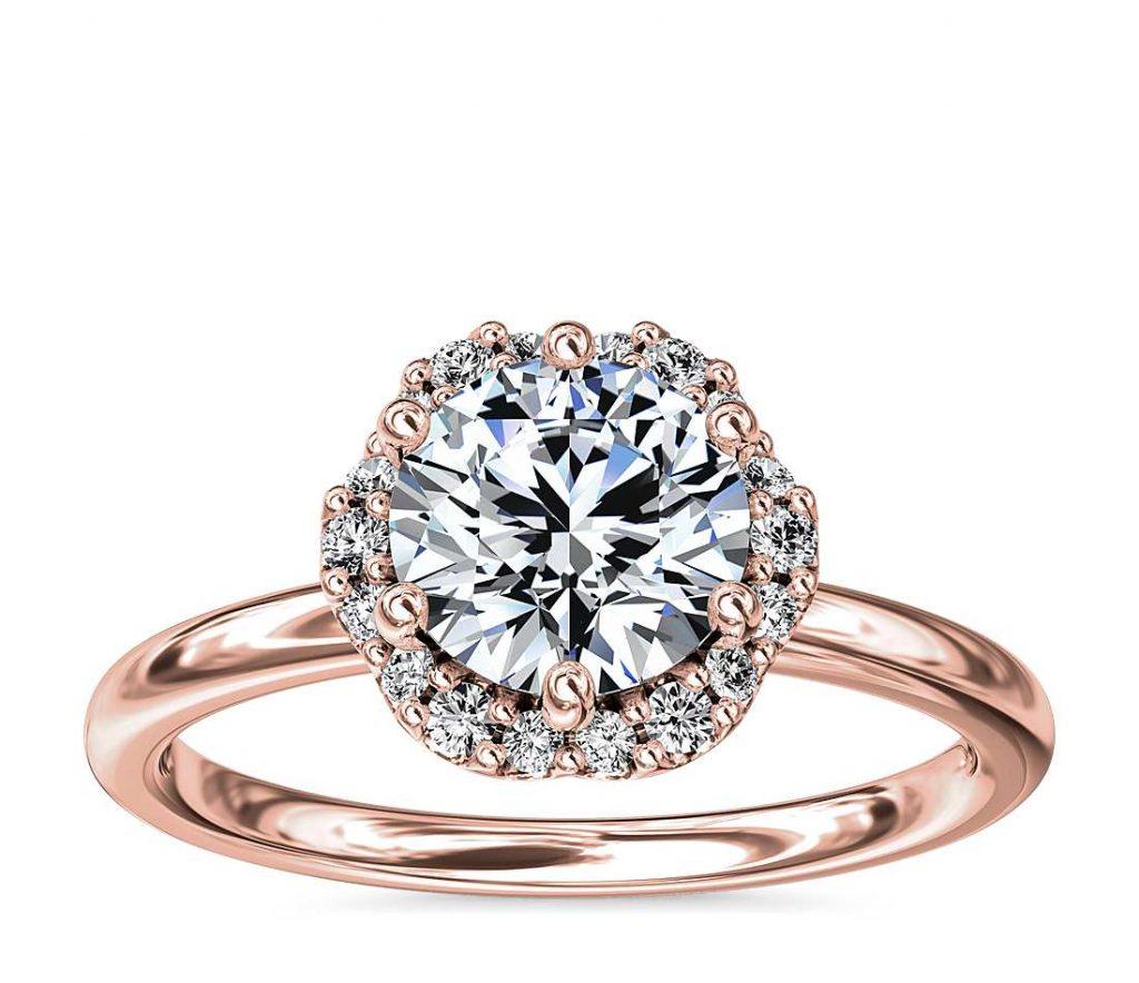 Halo setting round shape engagement ring