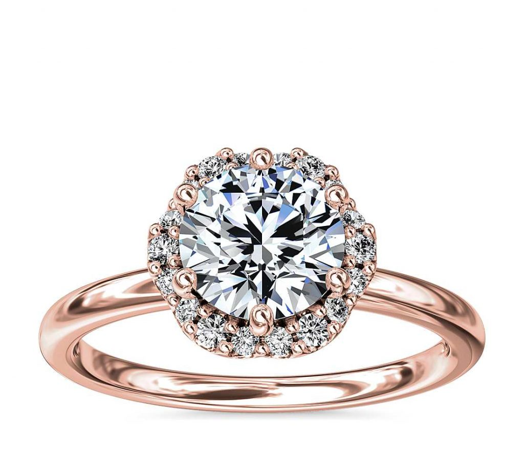 Halo setting round shape engagement ring