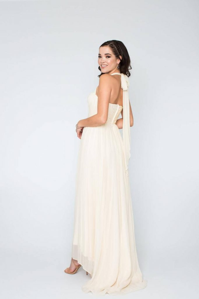 Bride wearing halter wedding gown