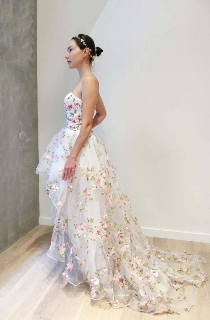 Hi-low floral wedding dress