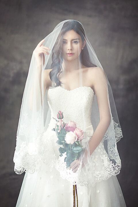 Bride wearing wedding veil telling the history of veils
