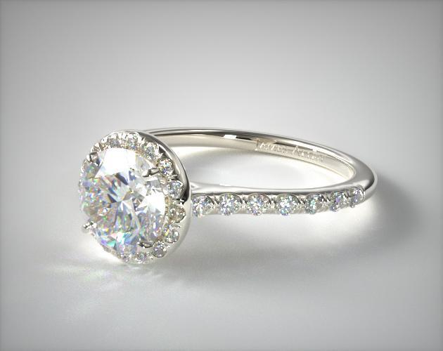 Synthetic diamond engagement ring in white gold setting