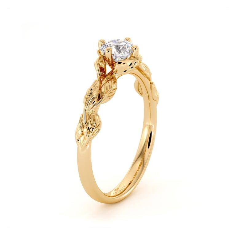 lab-grown diamond ring in yellow gold