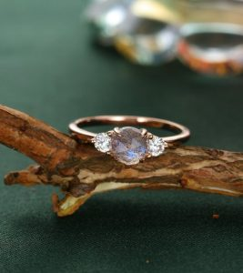 Labradorite three stone ring