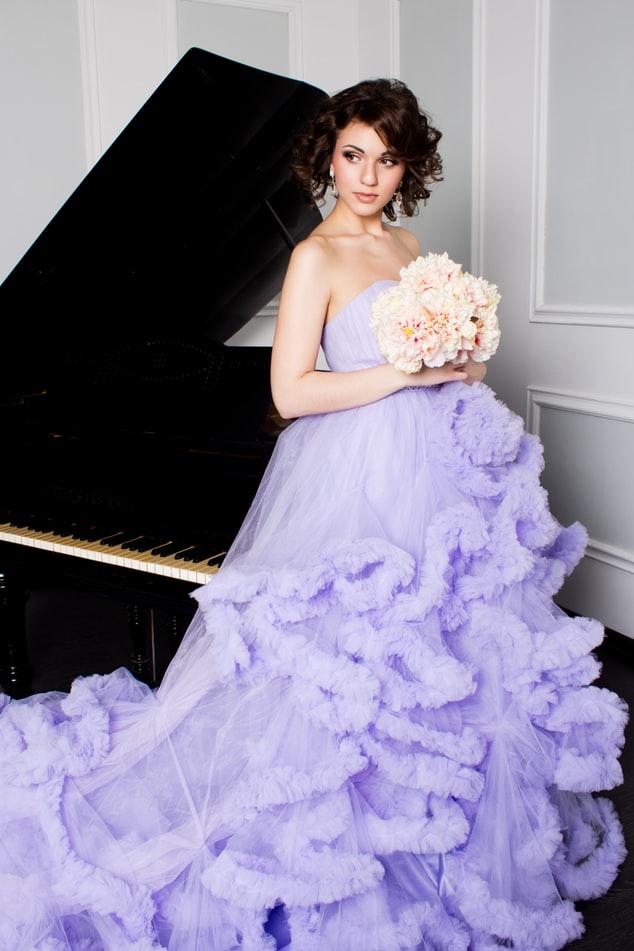 Bride wearing lavender-purple wedding dress