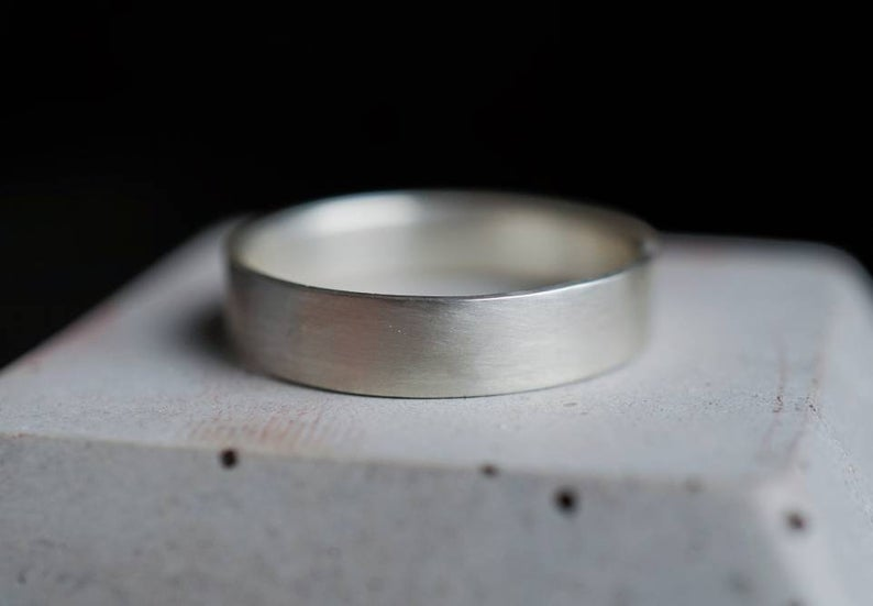 matte silver wedding band