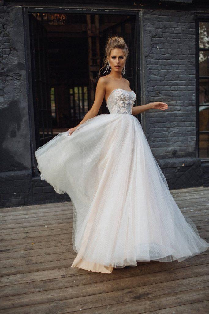 Bride wearing modern wedding dress style