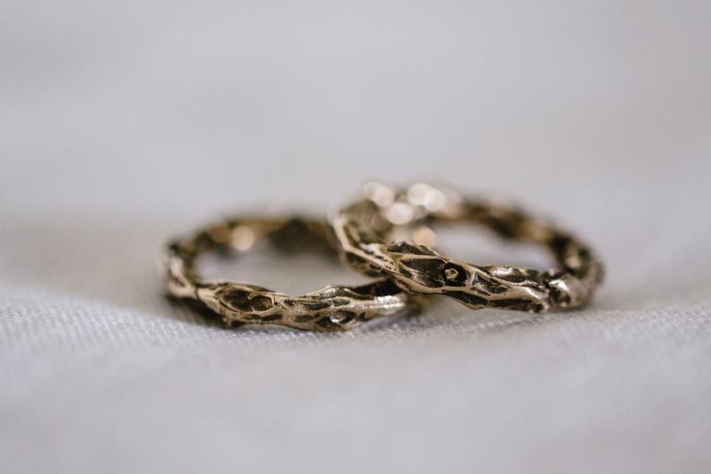 Bronze non-traditional wedding bands