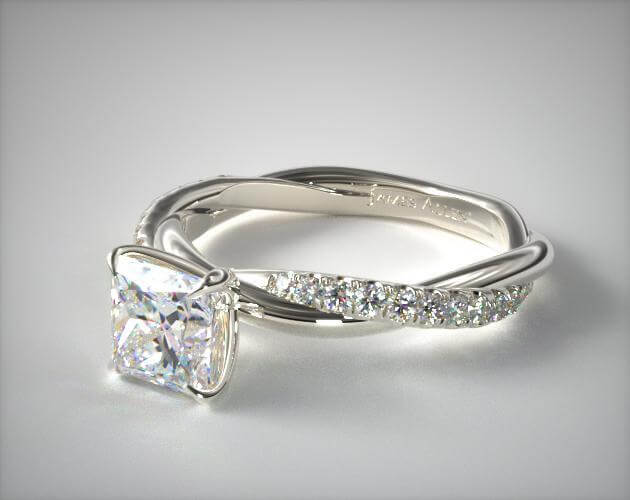 Pave ring setting princess cut diamond in white gold