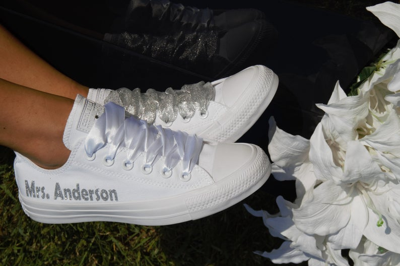 Personalized wedding sneakers worn by bride in wedding day