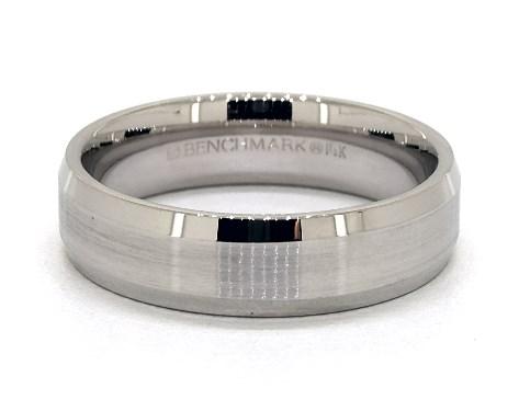 Wide platinum men's wedding ring