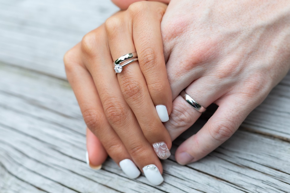 Titanium ring worn by bride and groom