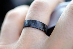 Black pure carbon fiber ring