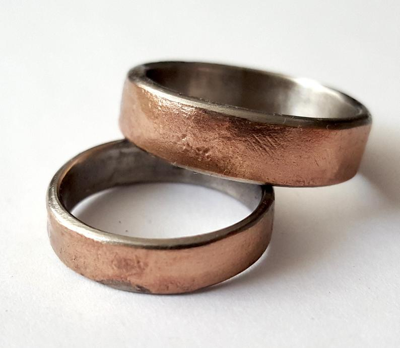 Rustic couples bronze band