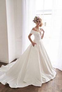 Bride wearing satin wedding dress