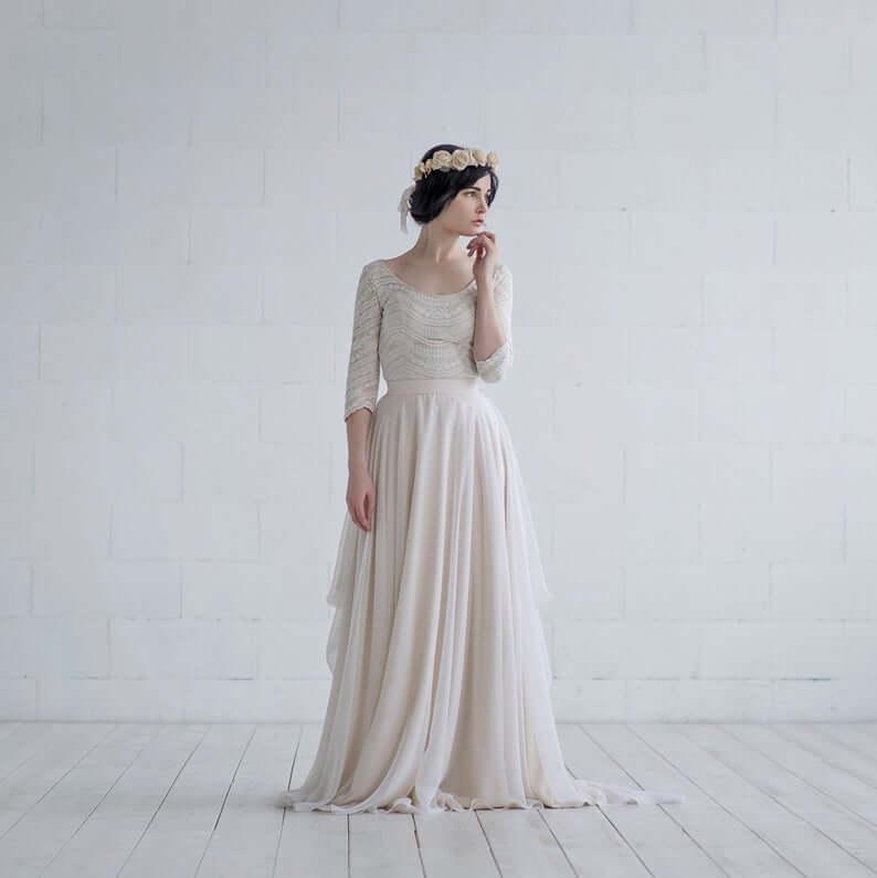Scoop neckline bridal top